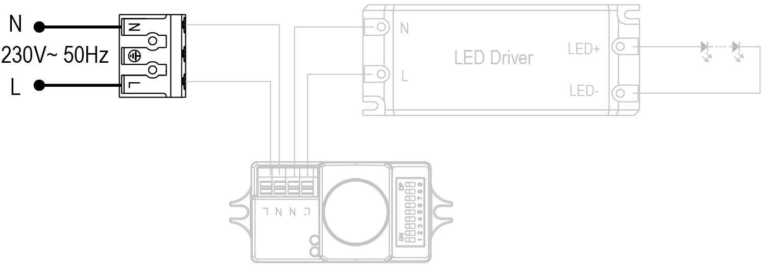 PLAFÓN LED 18W CON DETECTOR DE MOVIMIENTO HF – DM HF1 PL2 - Esquema de instalación - Dinuy