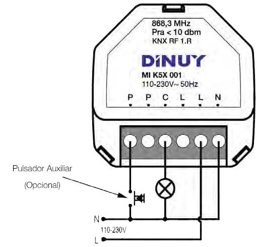 1-CHANNEL SWITCH ACTUATOR – MI K5X 001 - Installation scheme - Dinuy