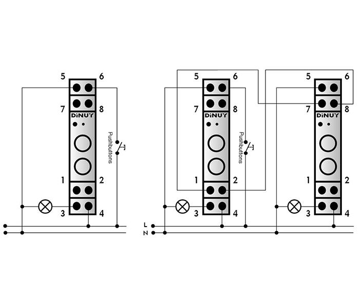 REGULADOR MODULAR PARA LÁMPARAS LED – RE EL1 LE1 - Esquema de instalación - Dinuy