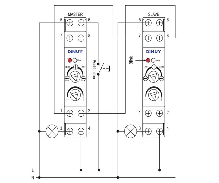 MODULAR DIMMER WITH BUILT-IN POTENTIOMETER – RE EL1 LE3 - Esquema de instalación - Dinuy
