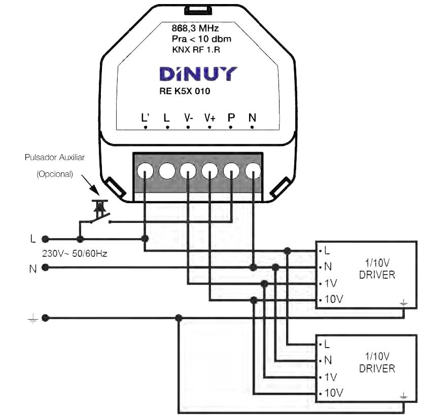 ACTUADOR DE REGULACIÓN KNX-RF 1-10V DE 1 CANAL – RE K5X 010 - Esquema de instalación - Dinuy