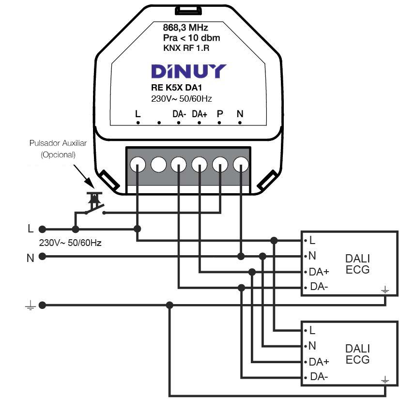 DIMMER PARA EQUIPOS DALI DE 1 CANAL – RE K5X DA1 - Esquema de instalación - Dinuy