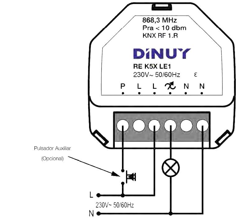 DIMMER UNIVERSAL DE 1 CANAL – RE K5X LE1 - Esquema de instalación - Dinuy