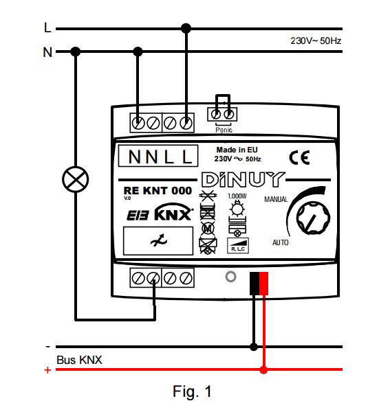 ACTUADOR DE REGULACIÓN RLC+LED DE 1 CANAL – RE KNT 000 - Esquema de instalación - Dinuy