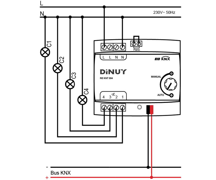 4-CHANNEL LED DIMMING ACTUATOR – RE KNT 004 - Installation scheme - Dinuy