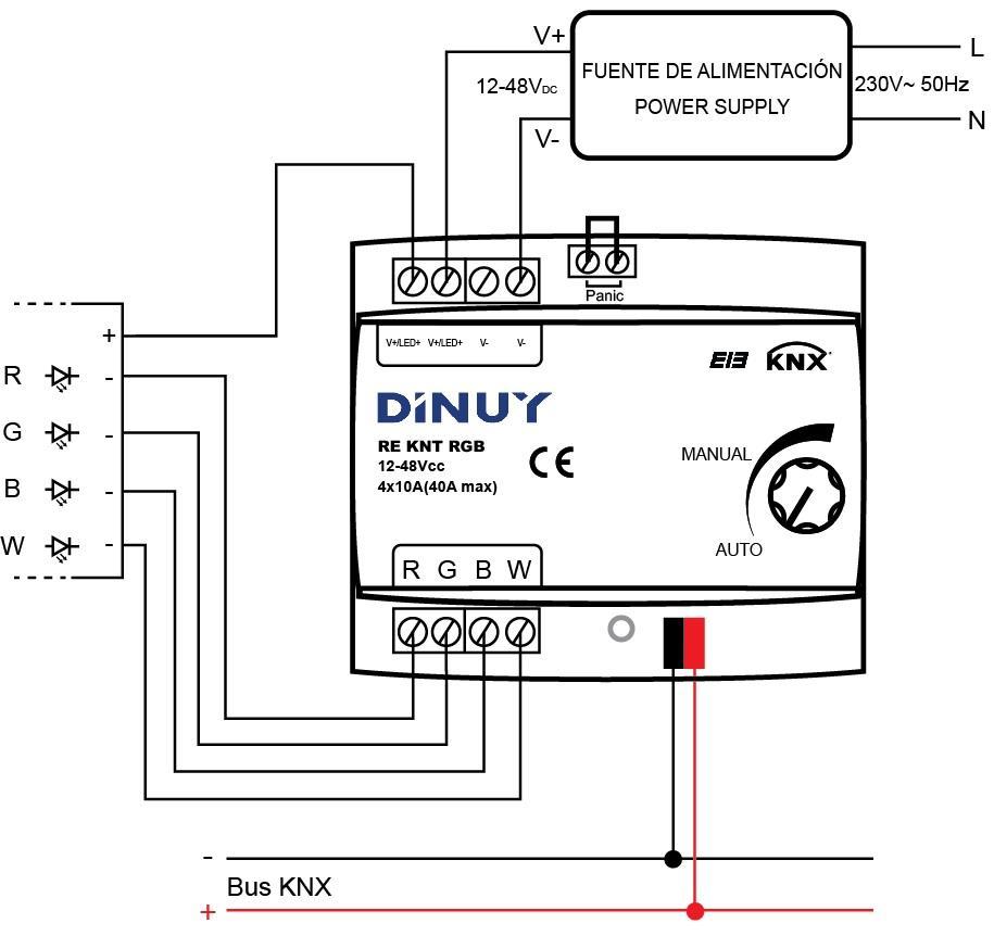 ACTUADOR DE REGULACIÓN TIRAS LED DE 4 CANALES – RE KNT RGB - Esquema de instalación - Dinuy