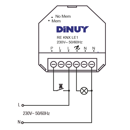 DIMMER FOR LED LAMPS – RE KNX LE1 - Installation scheme - Dinuy