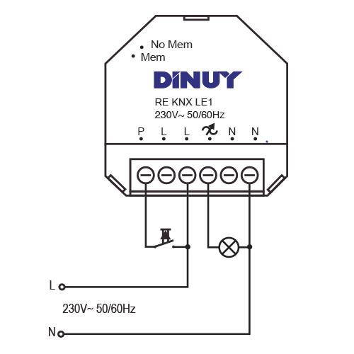 REGULADOR INALÁMBRICO PARA LÁMPARAS LED – RE KNX LE1 - Esquema de instalación - Dinuy