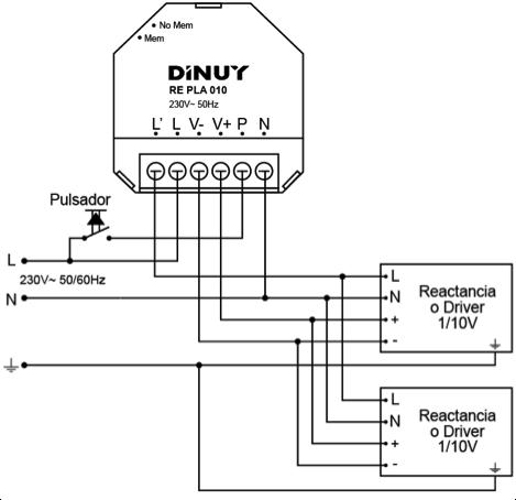 REGULADOR PARA EQUIPOS 1-10V – RE PLA 010 - Esquema de instalación - Dinuy
