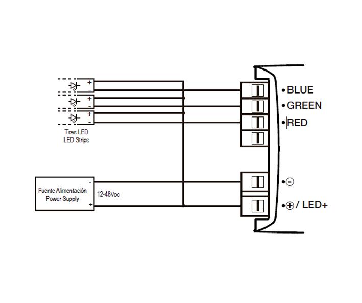 ACTUADOR DE REGULACIÓN TIRAS DE LED PWM – RE K5X RGB - Esquema de instalación - Dinuy
