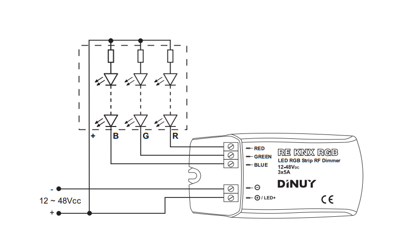 DIMMER FOR RGB LED STRIPS – RE KNX RGB - Installation scheme - Dinuy