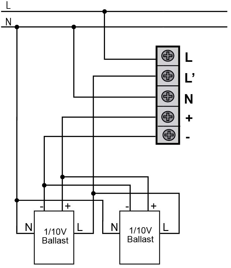DETECTOR DE MOVIMIENTO DE TECHO 1-10V – DM TE1 001 - Esquema de instalación - Dinuy