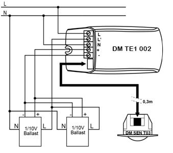 DETECTOR DE MOVIMIENTO 1-10V – DM TE1 002 - Esquema de instalación - Dinuy