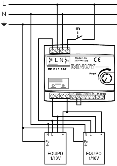REGULADOR MODULAR PARA EQUIPOS 1-10Vcc – RE EL5 002 - Esquema de instalación - Dinuy