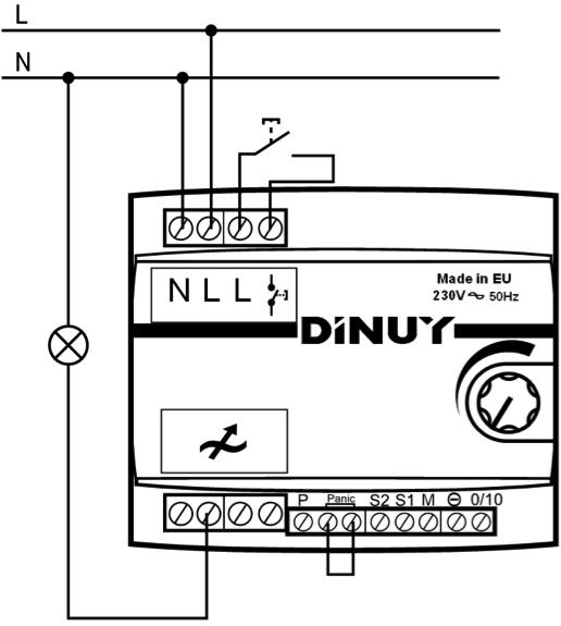 REGULADOR MODULAR PARA LÁMPARAS LED – RE EL5 LE1 - Esquema de instalación - Dinuy