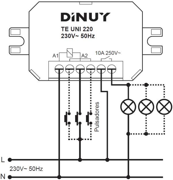 MICROTELERRUPTORES – TE UNI 220 - Esquema de instalación - Dinuy