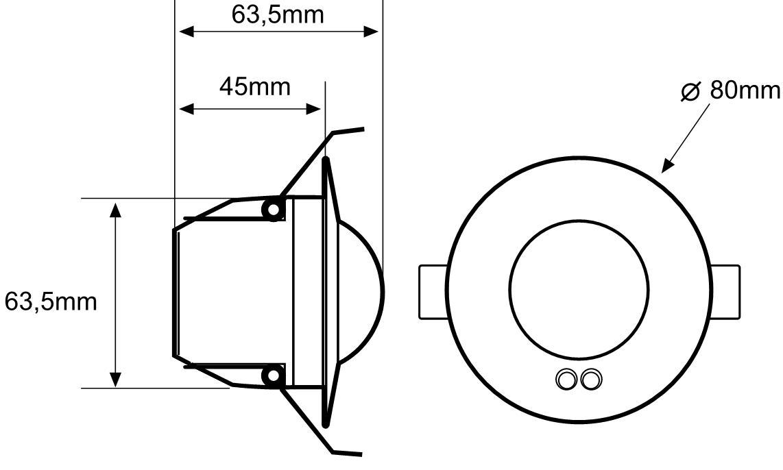 DETECTOR DE MOVIMIENTO EMPOTRABLE EN TECHO 24V – DM TEC 243 - Dimensiones - Dinuy