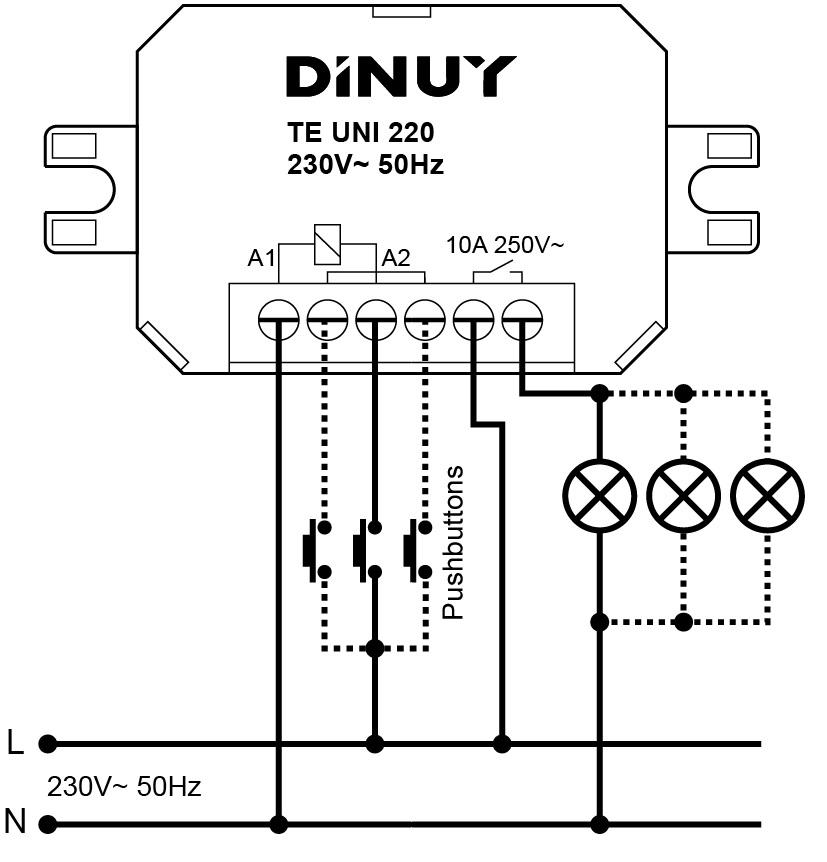 IMPULSE RELAY – TE UNI 024 - Installation scheme - Dinuy