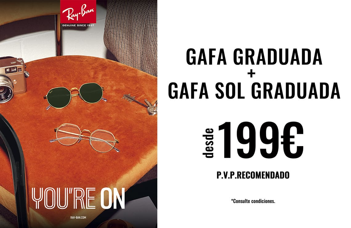 Combina tu montura graduada + tu gafa de sol graduada Ray-Ban desde 199€