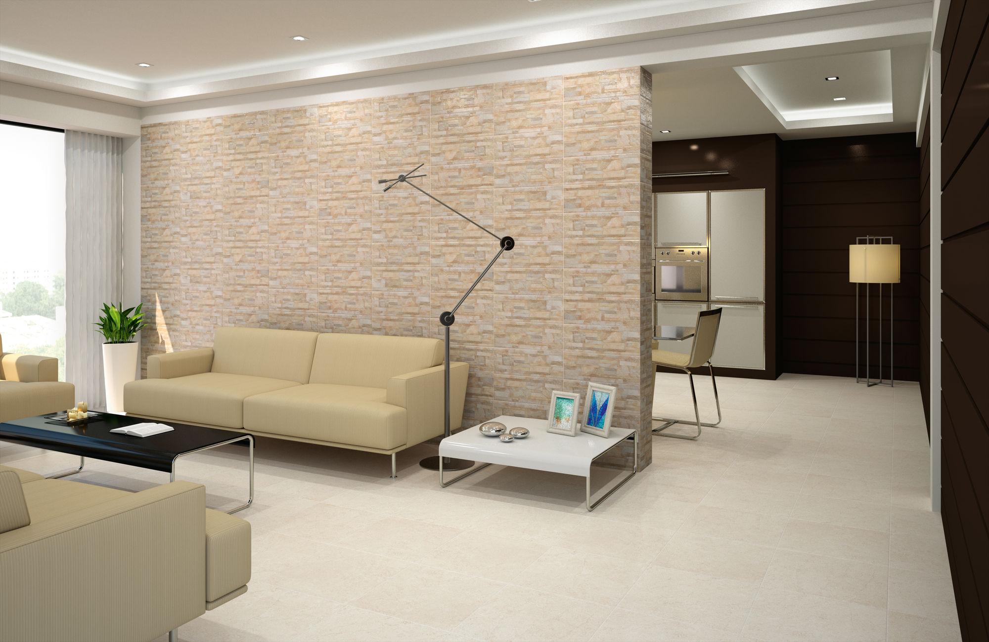 Brick Nepal Beige 17,5 x 50 cm. Pavimento Concrete Bone 44,7 x 44,7 cm.