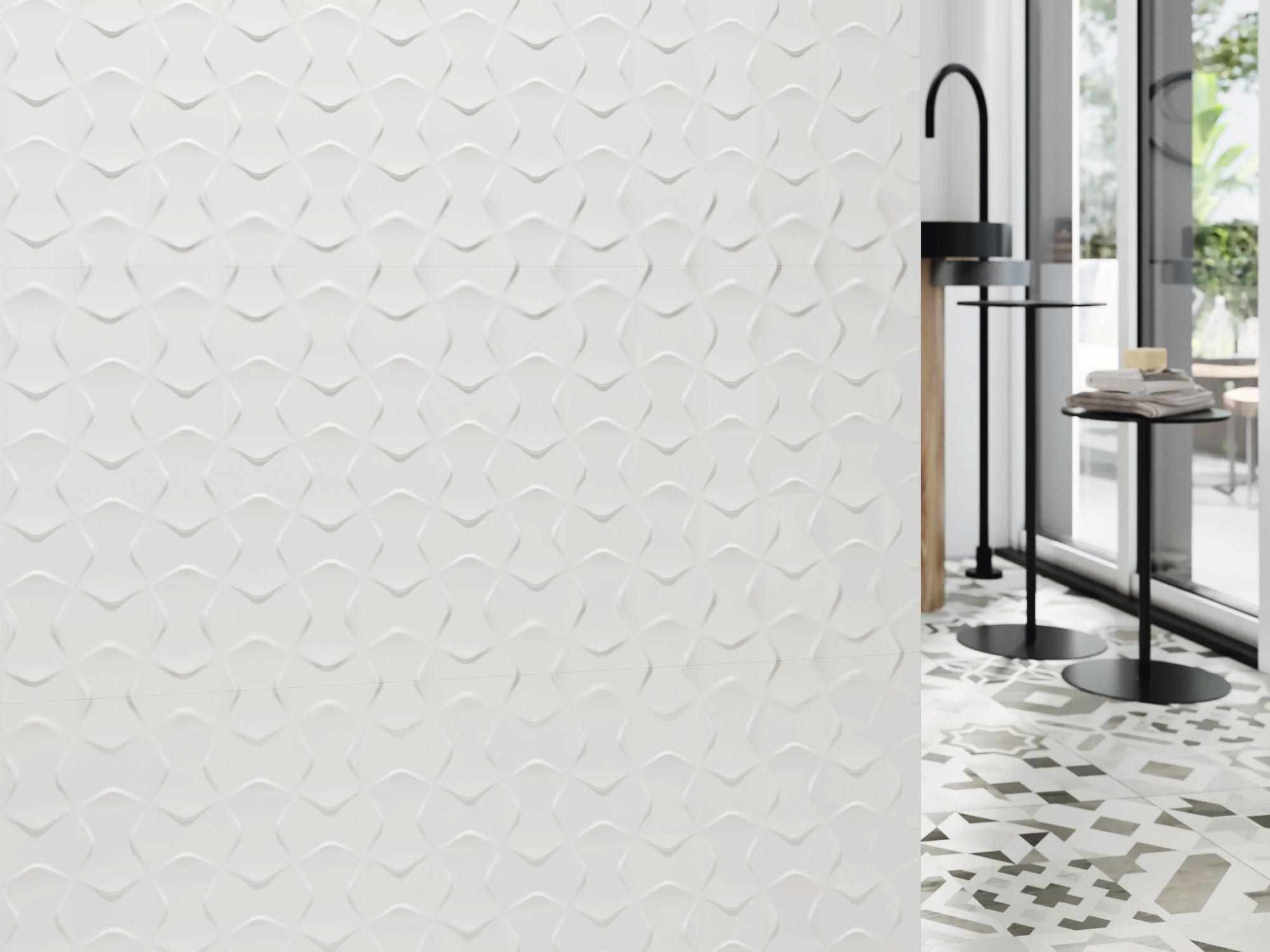 Blanco Brillo relieve Bowtie 40x120 cm. Pavimento Hidraulico Phuket.