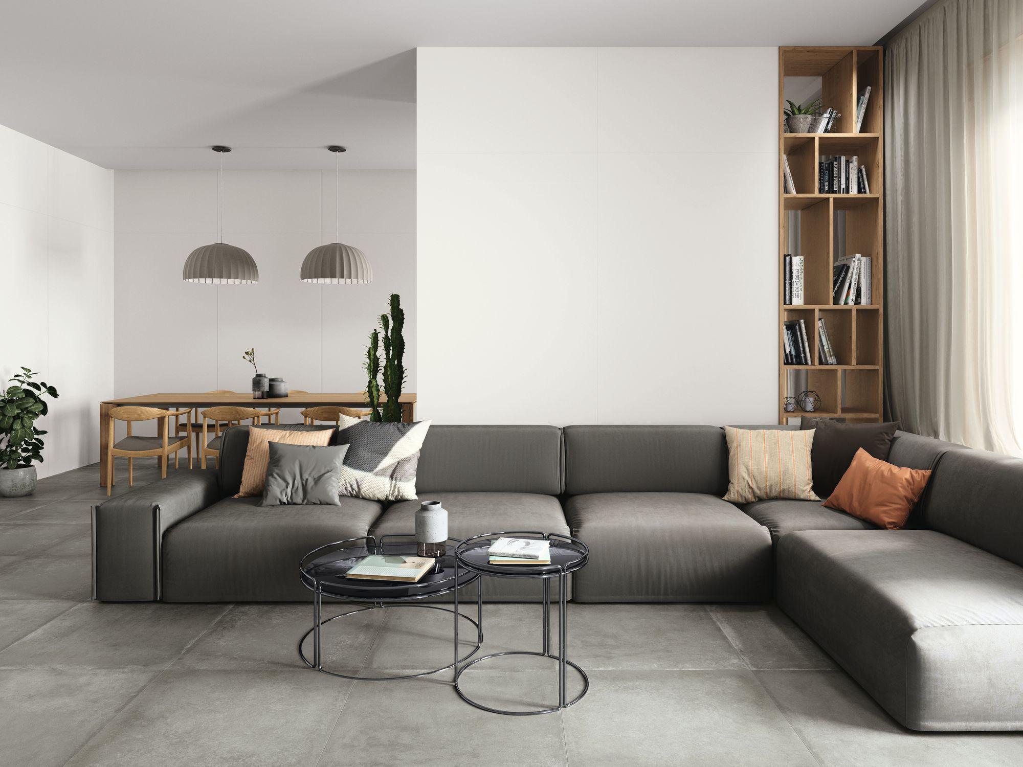 Monocolor Blanco 260x120 cm. Grafton Grey 80x80 cm.