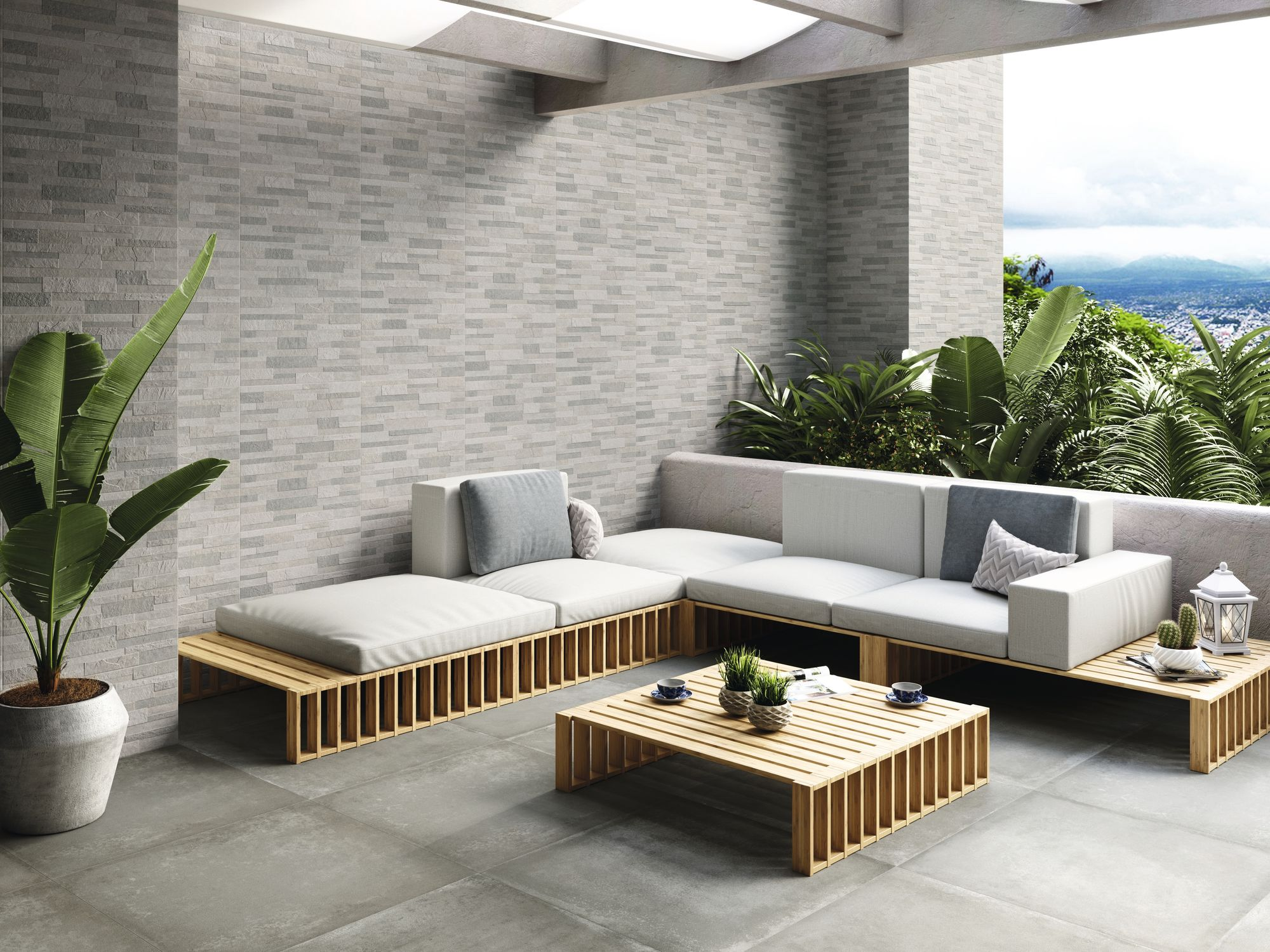 Brick Stone Winter Mix 30x60 cm. Pavimento Grafton Grey 80x80 cm.