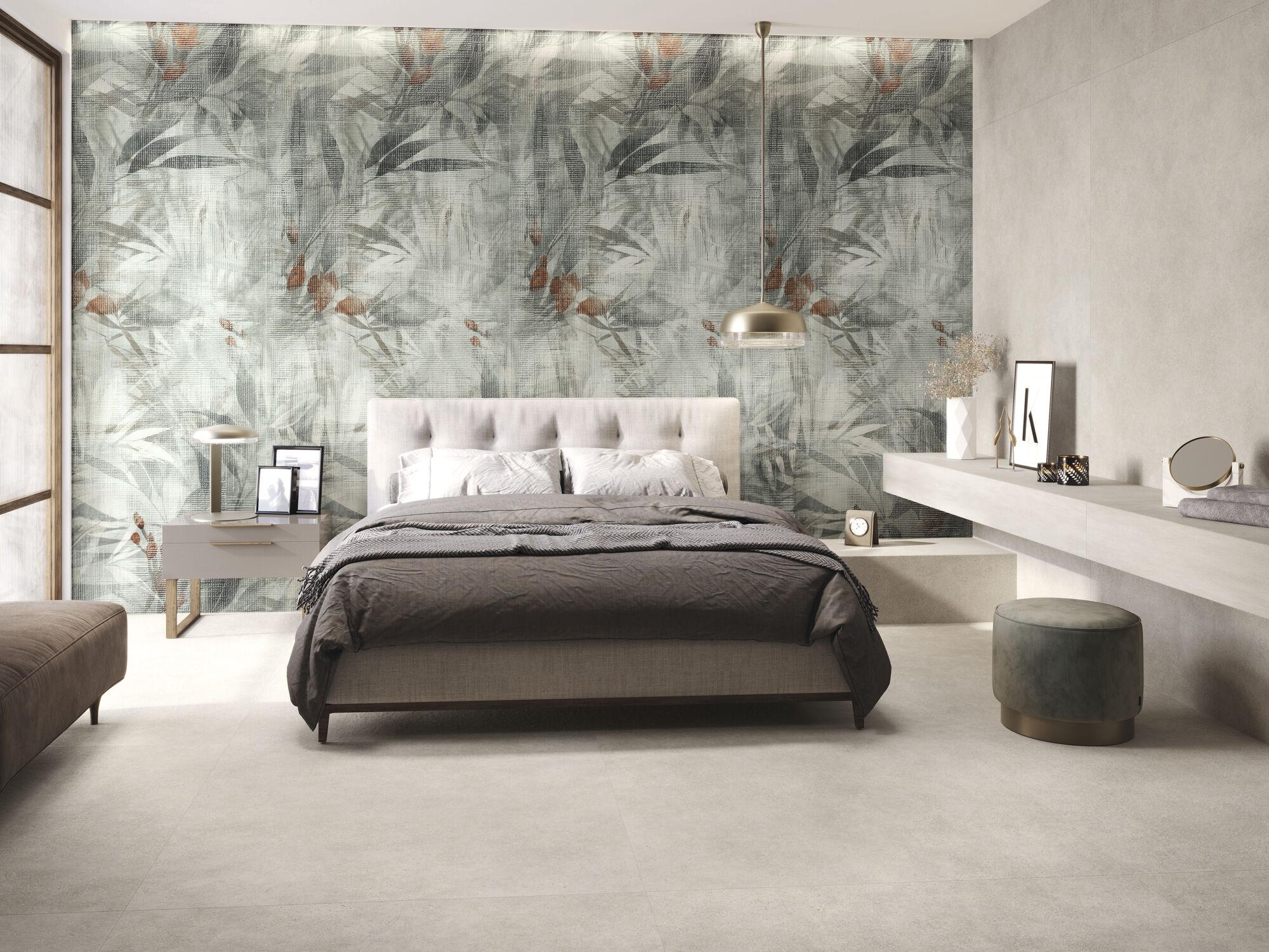 Blossom 260 x 120 cm. Asphalt Off White 260 x 120 cm. Pavimento Asphalt Off White 120 x 120 cm.