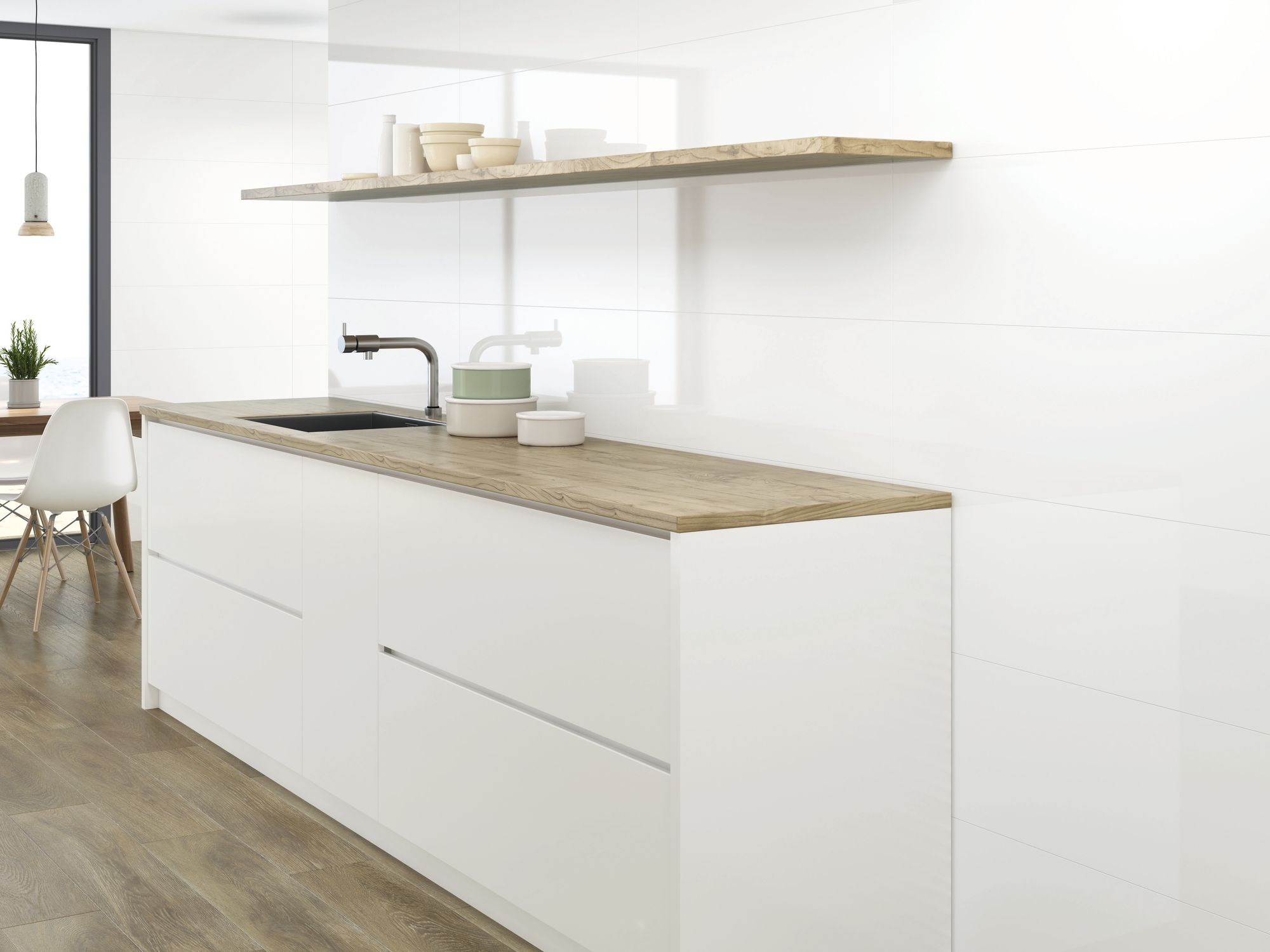 Blanco Brillo 30x90 cm.  Pavimento Eleganza Roble 20 x 114 cm.