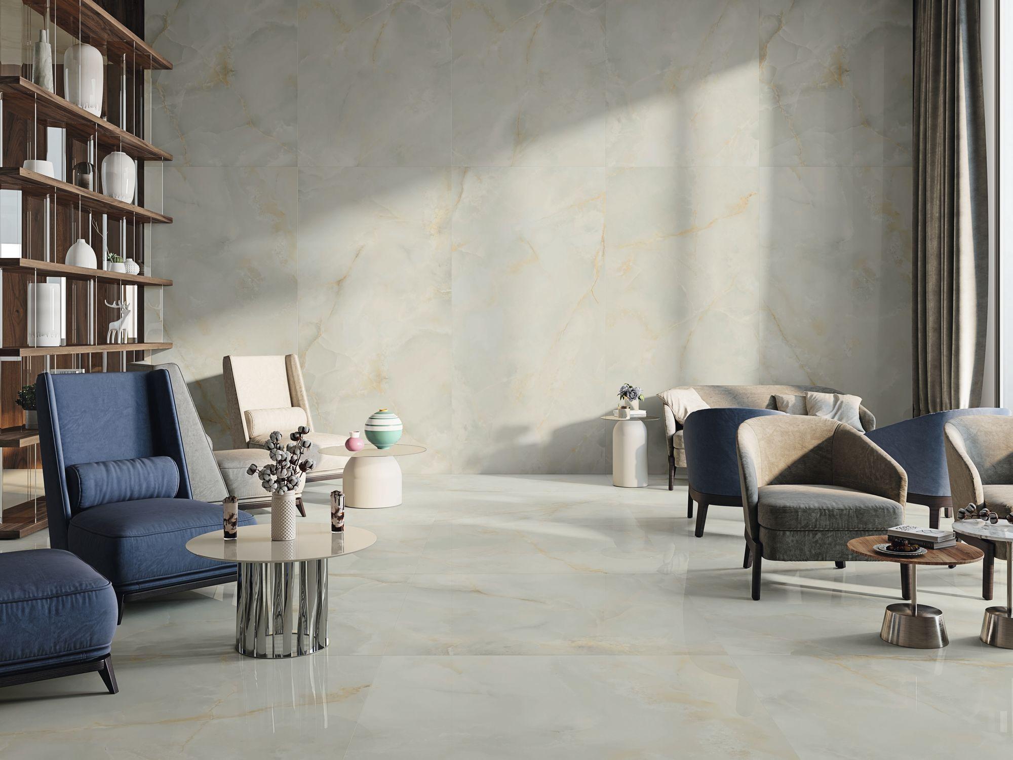 Quios Silver pulido 120x240 cm. Pavimento Silver pulido 120x120 cm.