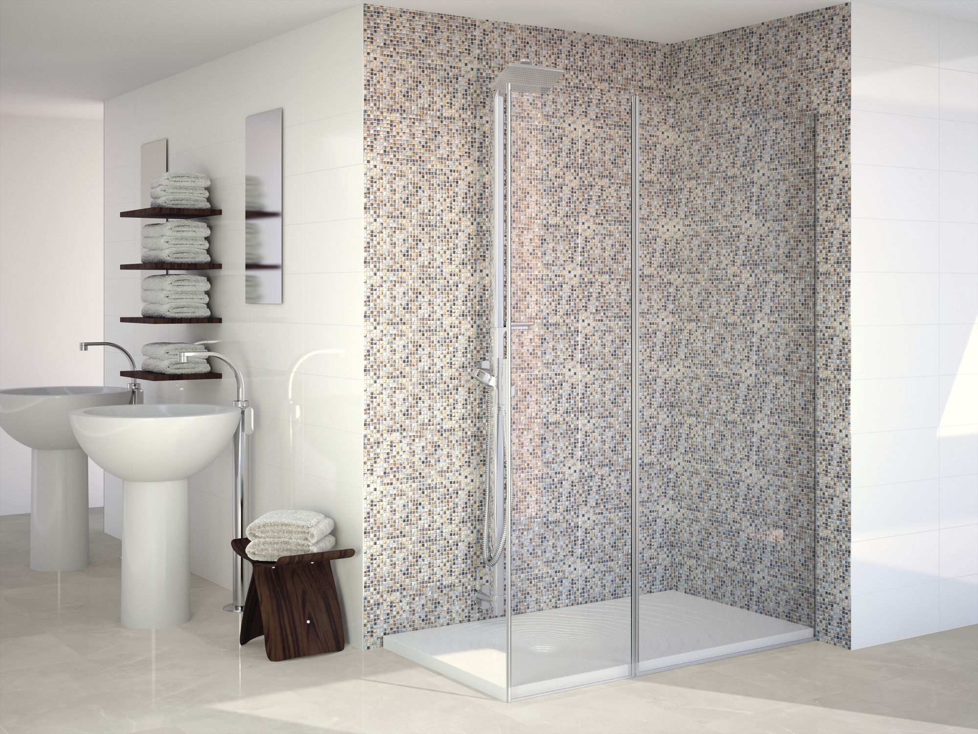 Blanco Brillo 20 x 50 cm. Decor Micro Kyoto 20 x 50 cm. Pavimento Anubis Silver 44,7 x 44,7 cm.