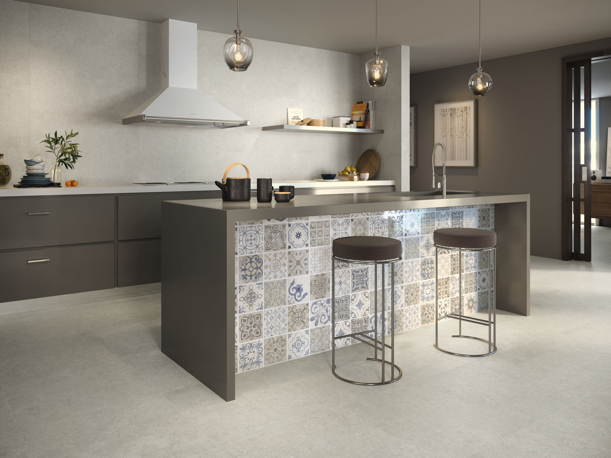 Slim Ozone grey 30X90. Mosaico Antique grey 30X90. Ozone grey 60X60.