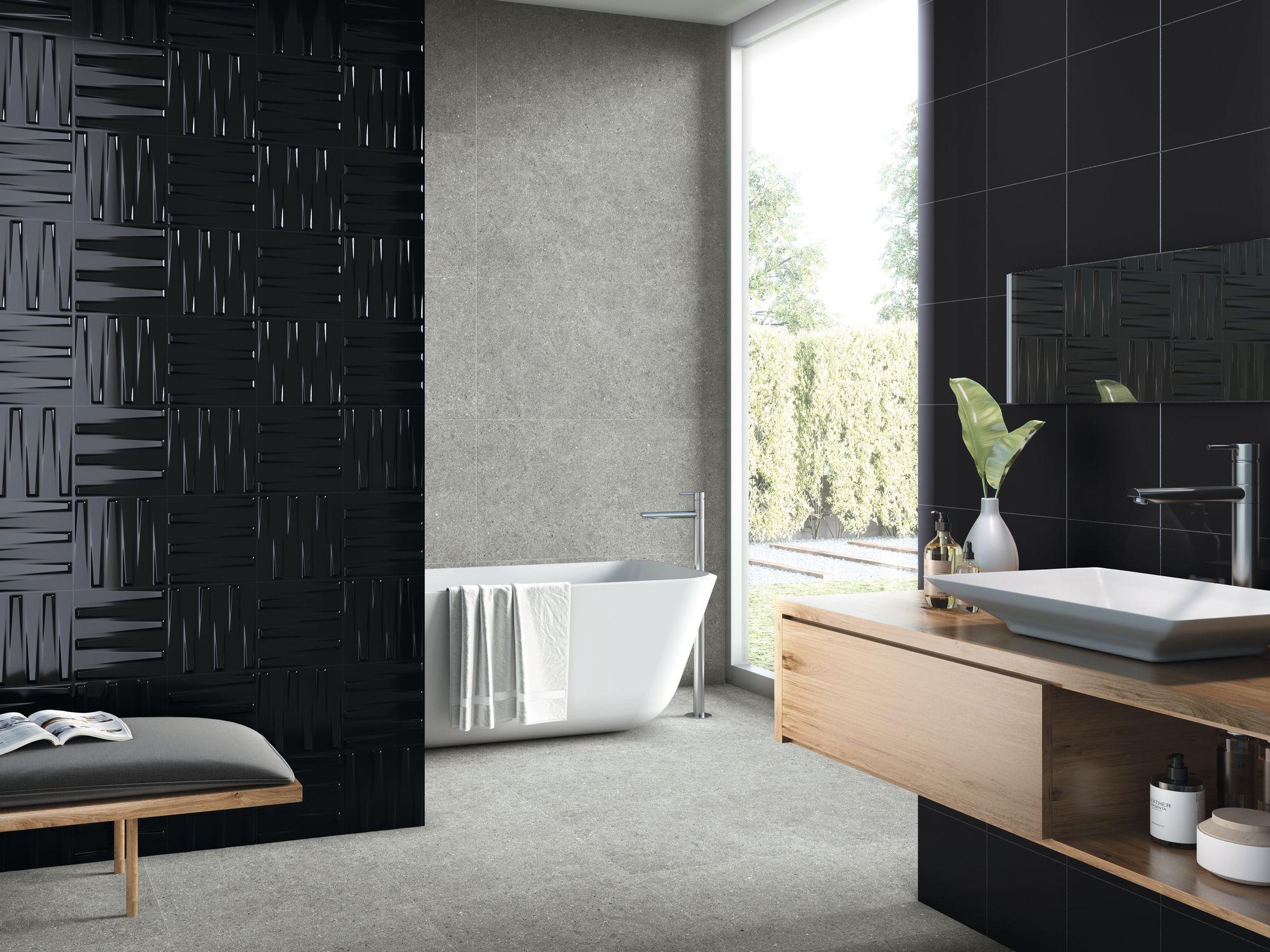 Dutton Black Gloss 25 x 25 cm. Black Gloss 25 x 25 cm. Brunswich Cromo 60 x 120 cm. Pavimento Brunswich Cromo 60 x 60 cm.