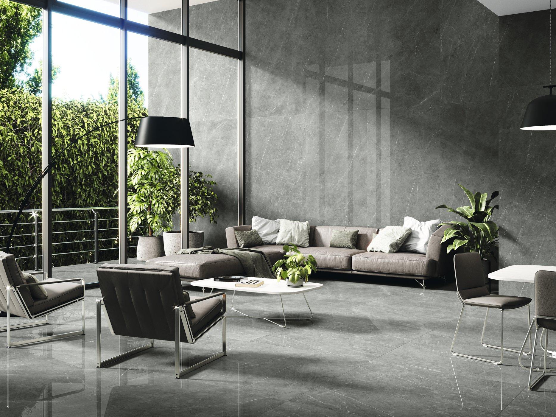 Tessino Grey Pulido 260 x 120 cm. Pavimento Tessino Grey Pulido 120 x 120 cm.