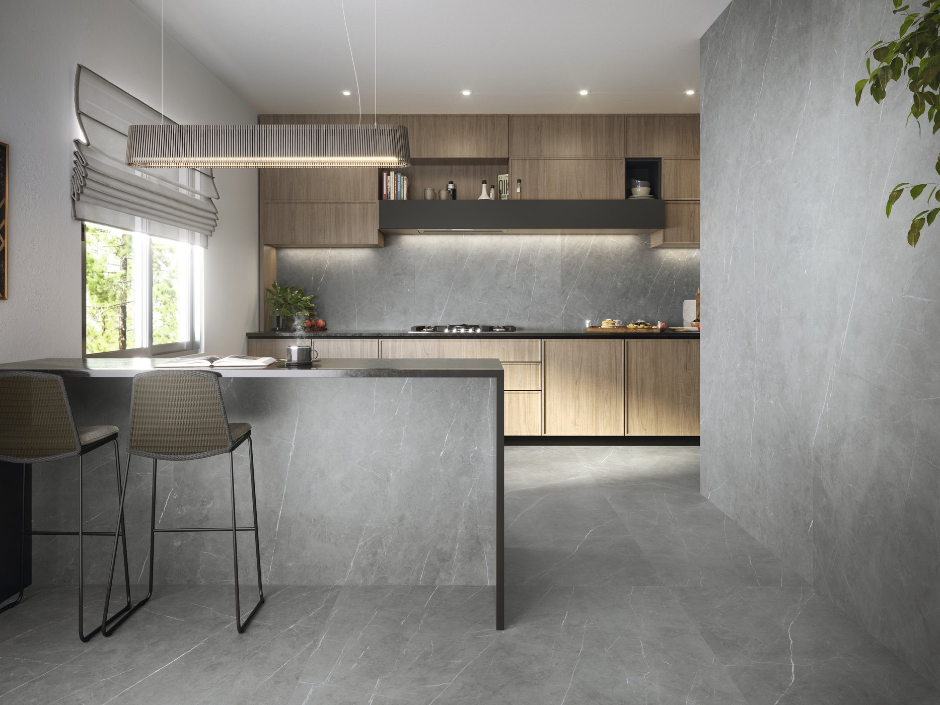 Tessino Grey Natural 260 x 120 cm. Pavimento Tessino Grey Natural 120 x 120 cm.
