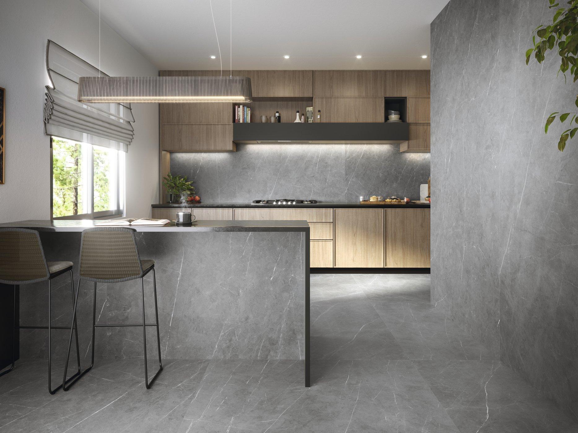 Tessino Grey Natural 260 x 120 cm. Pavimento Tessino Grey Natural 120 x 120 cm.