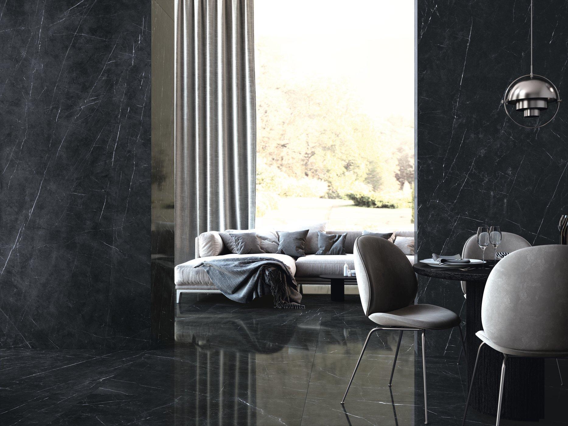 Tessino Black Pulido 260 x 120 cm. Pavimento Tessino Black Pulido 120 x 120 cm.