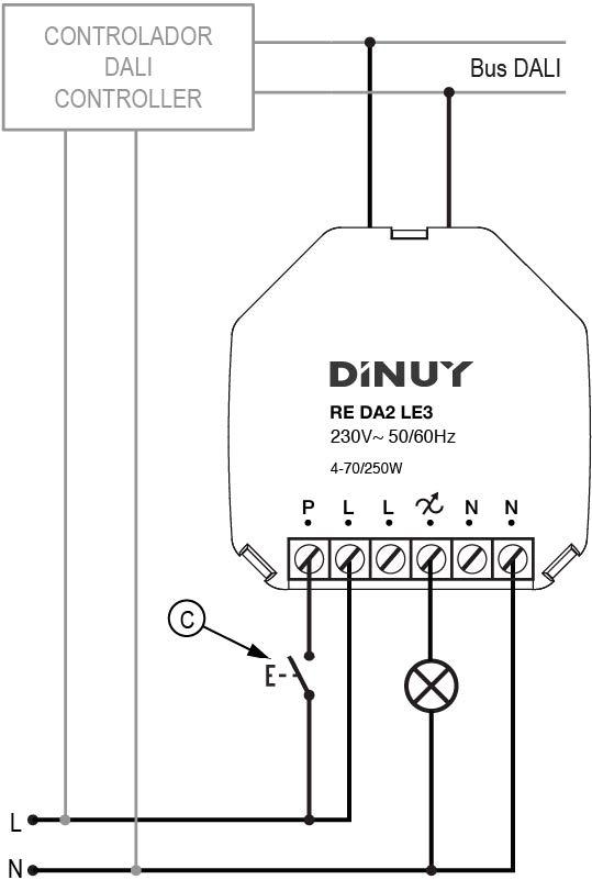 REGULADOR RLC+LED CON ENTRADA DALI/DALI-2 – RE DA2 LE3 - Esquema de instalación - Dinuy