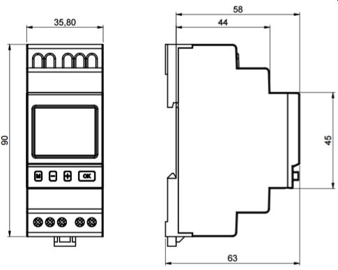 INTERRUPTOR HORARIO SEMANAL DE 1 CANAL NFC – IH TER MC0 - Dimensiones - Dinuy