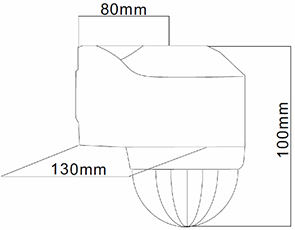 DETECTOR DE MOVIMIENTO DE PARED O ESQUINA 240º – DM SUP 002 - Dimensiones - Dinuy