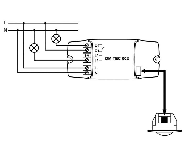 2-CHANNEL FLUSH CEILING-MOUNTED MOTION DETECTOR – DM TEC 002 - Installation scheme - Dinuy