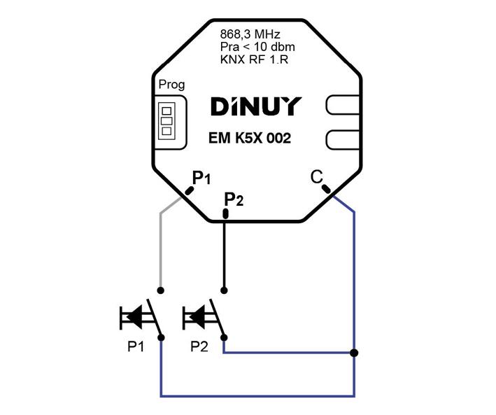 2-CHANNEL INPUT PUSHBUTTON KNX-RF INTERFACE – EM K5X 002 - Installation scheme - Dinuy