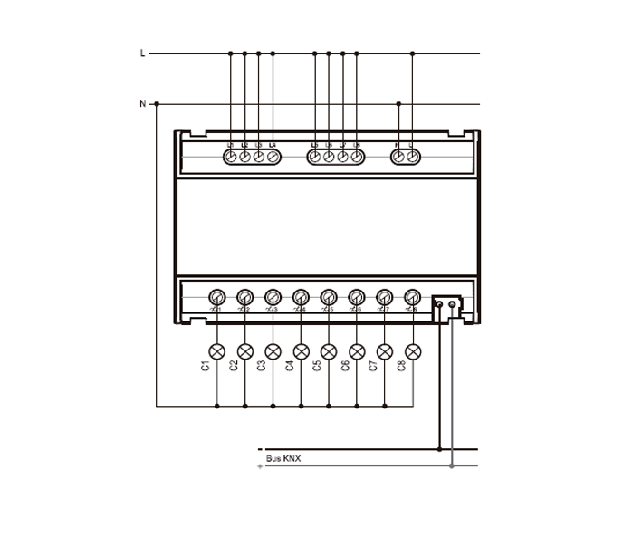 ACTUADOR DE REGULACIÓN RLC+LED DE 8 CANALES – RE KNT 008 - Esquema de instalación - Dinuy