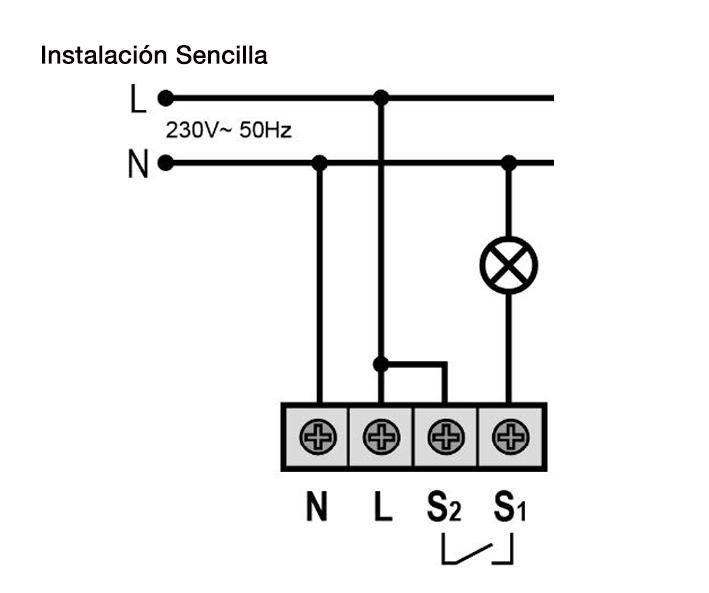 DETECTOR DE MOVIMIENTO CON RELÉ INVERTIDO – DM TEC IV1 - Esquema de instalación - Dinuy