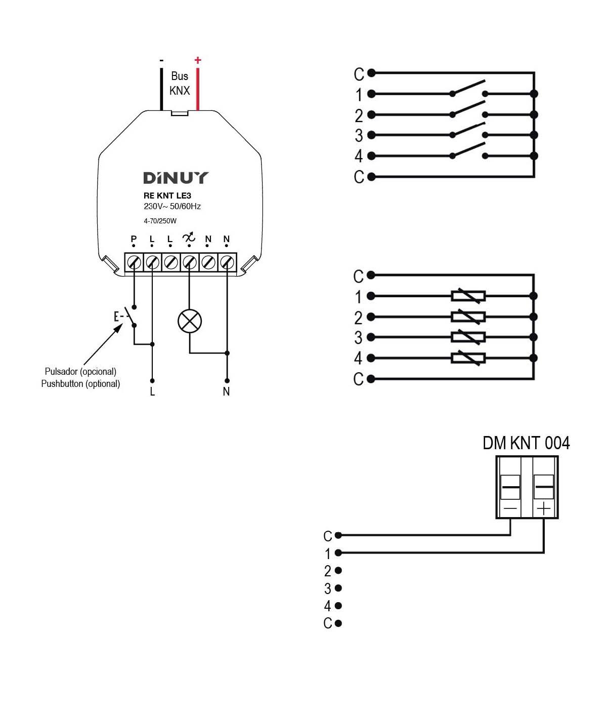ACTUADOR DE REGULACIÓN RLC+LED DE 1 CANAL Y 4 ENTRADAS – RE KNT LE3 - Esquema de instalación - Dinuy