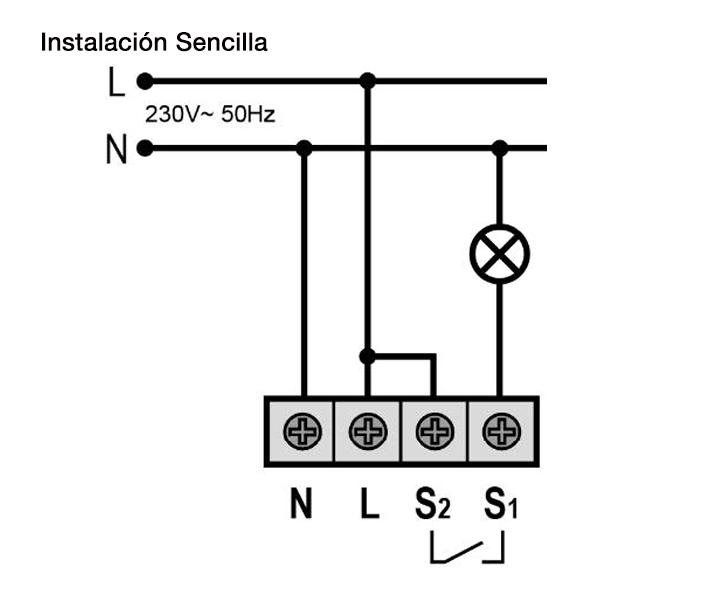 DETECTOR DE MOVIMIENTO CON RELÉ INVERTIDO – DM TEC IV8 - Esquema de instalación - Dinuy