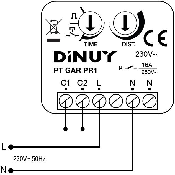 PULSADOR DE PROXIMIDAD SIN CONTACTO - PT GAR PR1 - Esquema de instalación - Dinuy